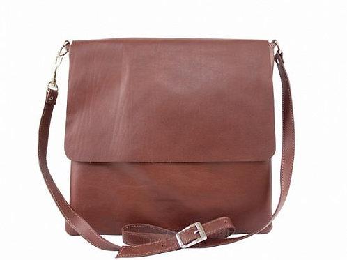 Soft  Flap Cross Body Bag - Brown Italian Leather