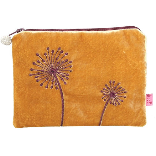 Alliums Velvet Purse - Ochre