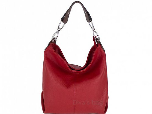Red Leather Shoulder Bag with Long Strap