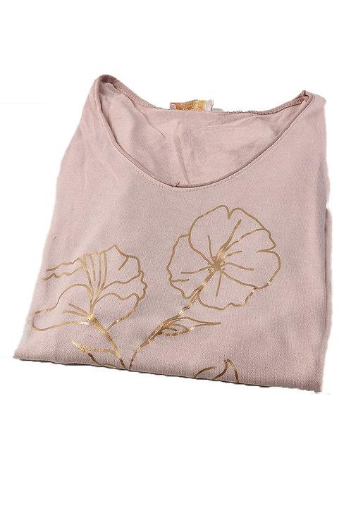Metallic copper floral design top -Dusty pink
