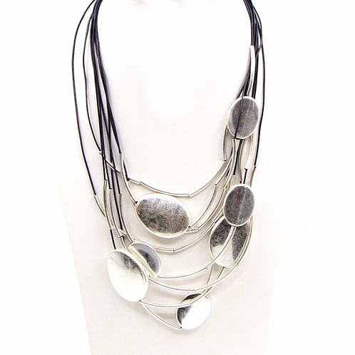 Flat oval beads and tubes multistrand necklace