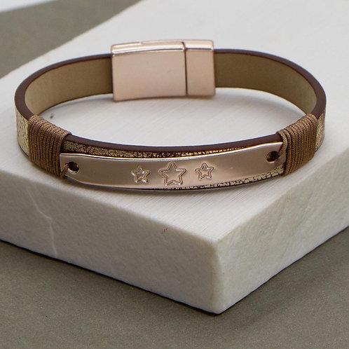 Vintage metallic PU simple bracelet with stars - rose goldelement