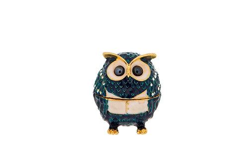 Trinket Box - Blue Gold Crest Owl