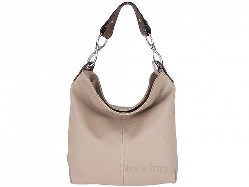 Powder Pink Leather Shoulder Bag with Long Strap