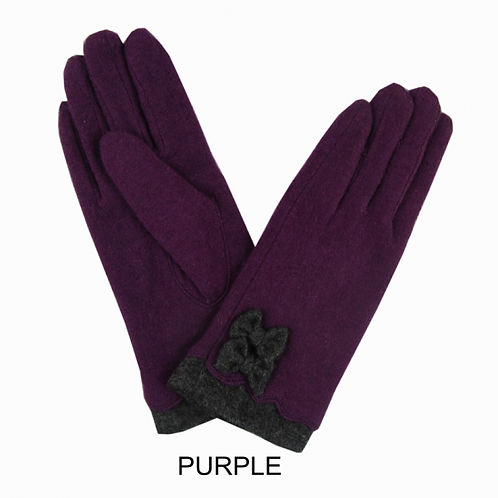 Super Cosy Lined Wool Gloves -Purple