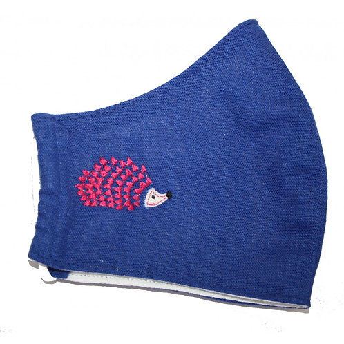 Hedgehog Tripple layer Face Covering -Blue
