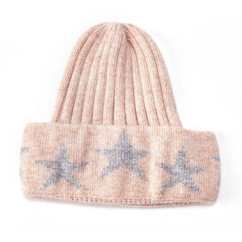 Knit Hat with Stars - pink