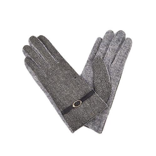 Weave Design And Buckle Details Ladies Wool Gloves -Grey