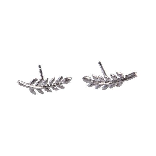 Curved Leaf Stud Earrings Sterling Silver