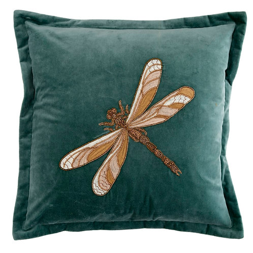 Voyage Velvet Dragonfly Cushion -Teal