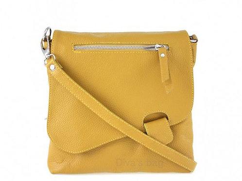 Slim Cross Body Bag - Mustard Italian Leather