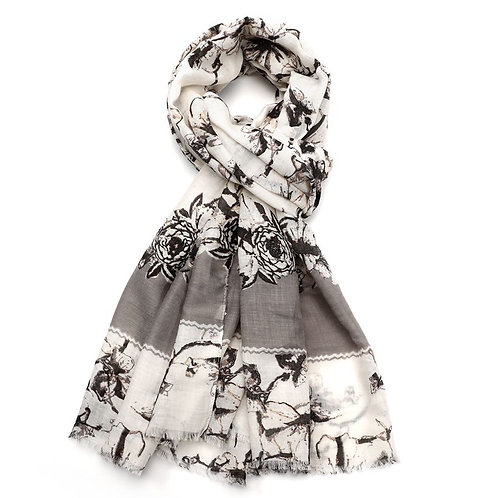 Ink Flower Scarf - Grey