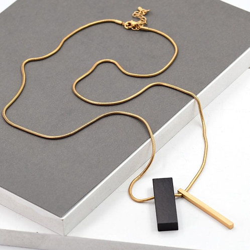 Rectangle ebony pendant on chain necklace - gold