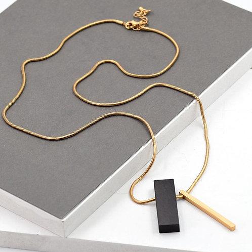 Rectangle ebony pendant on chain necklace - gold