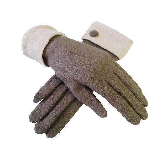 Wool Contrast Cuff Button Gloves - Brown