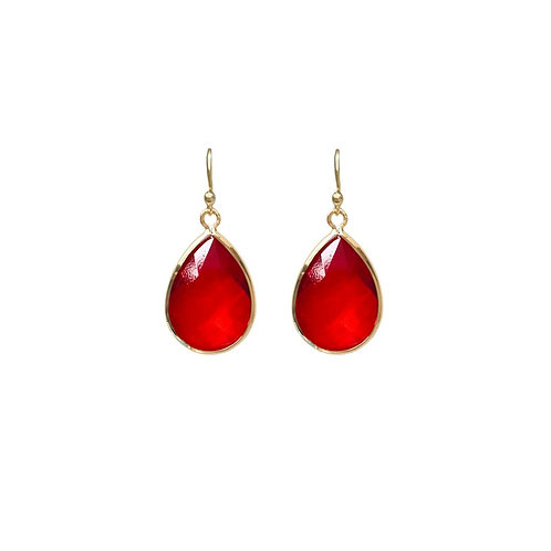 Teardrop gem earring -  Red