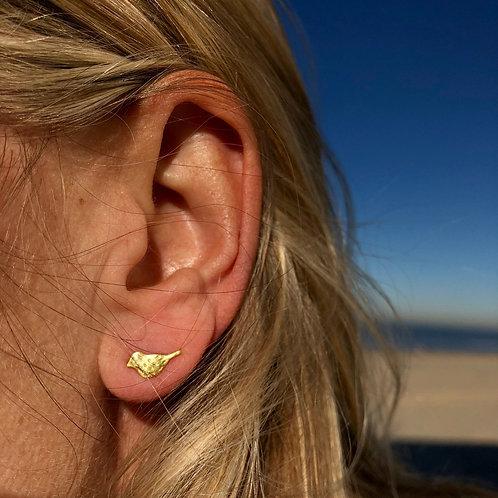 Bird Stud Earrings 14k Gold Plated Sterling Silver