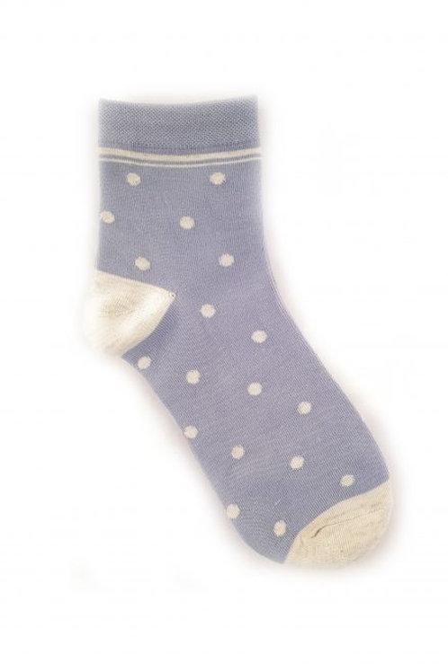 Spot Cotton Blend Ankle Sock - Blue