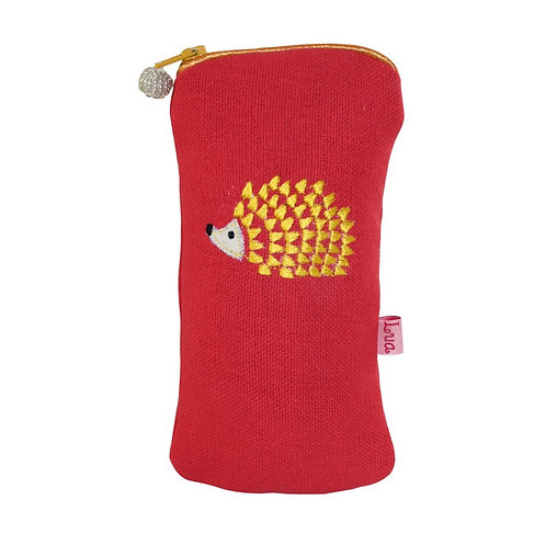 Embroidered Hedgehog Glasses Purse - Coral