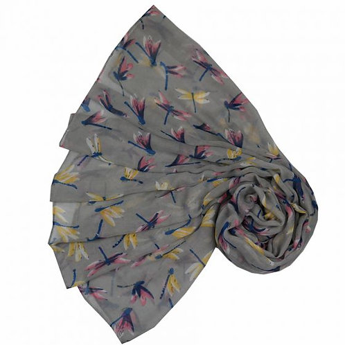 Beau Dragonfly Scarf - Grey