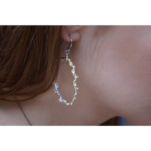 Sterling Silver and 14k Gold Plated Mimosa Hoop Earrings