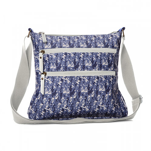 Oil Cloth Crossbody Bag -Blue Flower