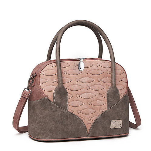 Fawn  and Dusty Pink Fish Imprinted Shoulder Bag