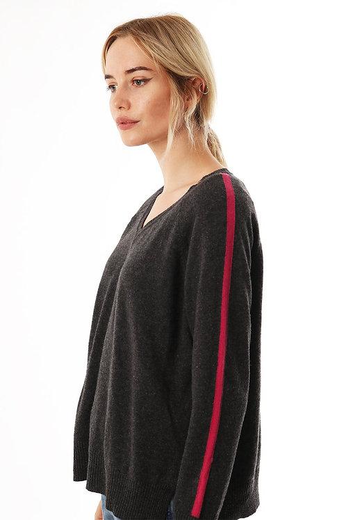 Cashmere Blend Jumper with stripe sleeve   Dark Grey
