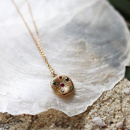 Gold Plated Pendant with Mixed Colour Crystals