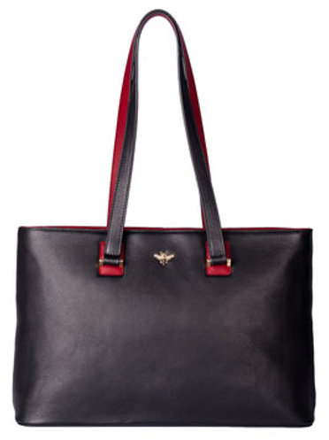 Black Leather Bee Shoulder Bag