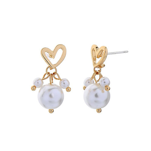 Heart and Pearl Drop Earring