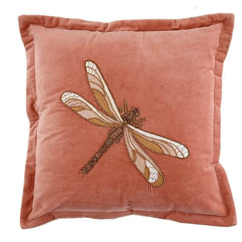 Voyage Velvet Dragonfly Cushion -Pink
