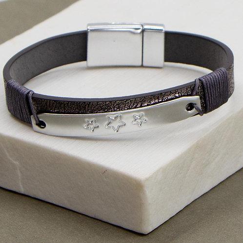 Vintage metallic PU simple bracelet with triple star element