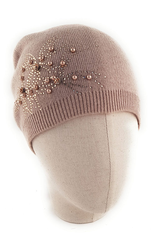 Floral Beaded Cashmere blend bobble hat - Fawn