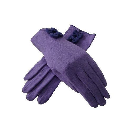 Wool Lillie bow cuff glove - Lilac