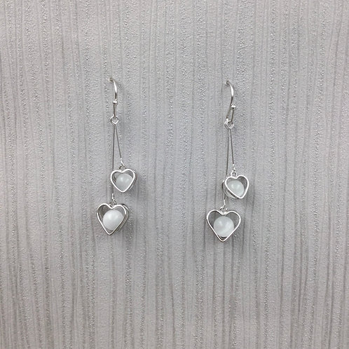 Silver heart double earrings with bead