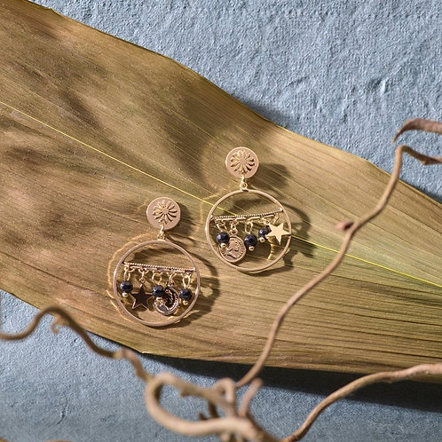 Gold plated delicate hoop earrings with beads and stars