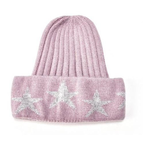 Knit Hat with Stars - Dusty Purple