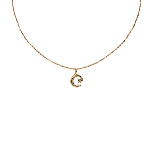Gold plated star and moon delicate pendant