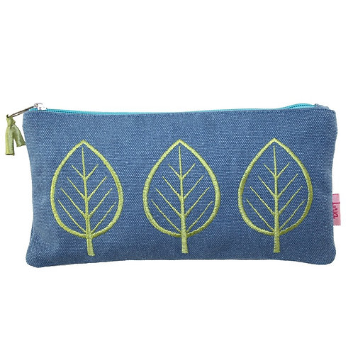 Embroidered Leaf Cosmetic Purse - Denim
