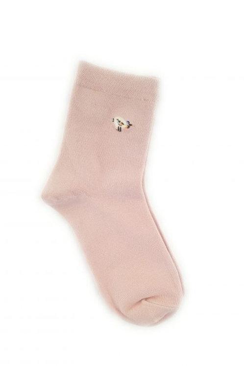 Bird Cotton Blend Ankle Sock - Pink