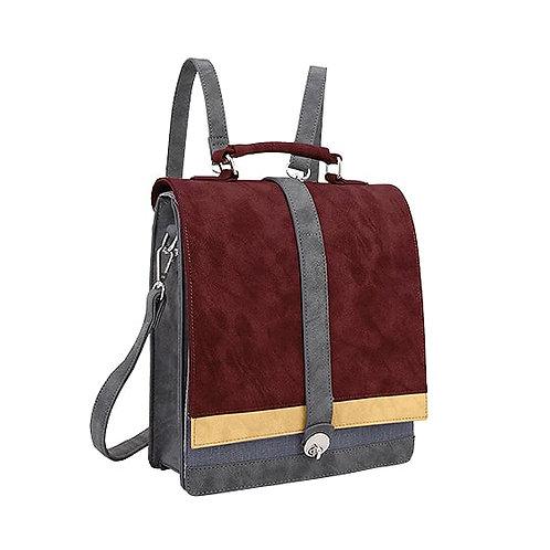 Burgundy Double Flap Back Pack Vegan Leather