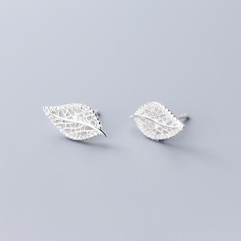 Sterling Silver Crystal Leaf Stud Earring