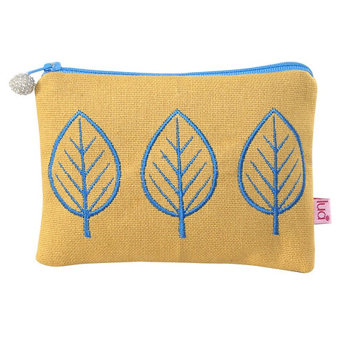 Embroidered Leaf Cosmetic Purse - Mustard