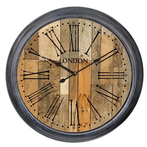 Wood Plank Wall Clock  IN STORE ONLY