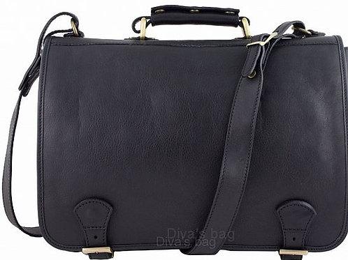 Buckle Italian Leather Messenger Bag -Black