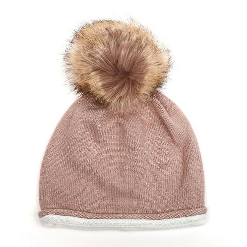 Wool mix sparkle bobble hat - pink