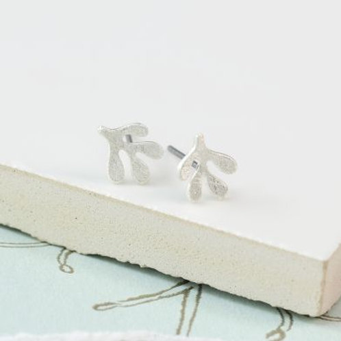 Silver plated leaf stud earrings