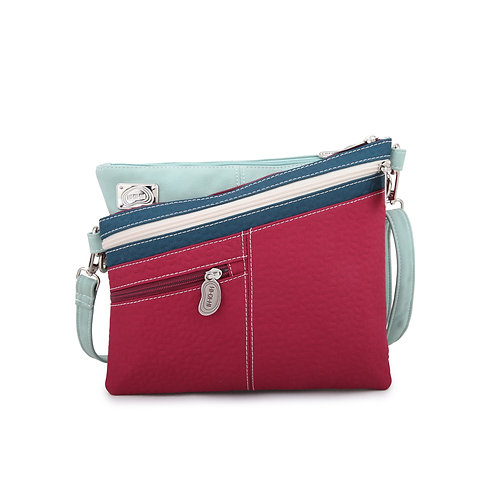 Pink Sloped  Crossbody Bag Vegan Leather