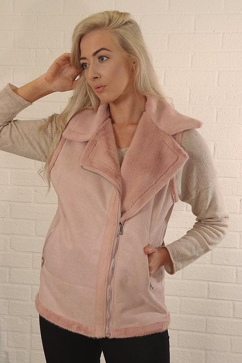 Faux Sheep Skin Gilet    Dusty pink
